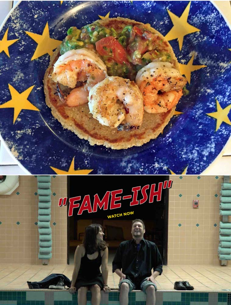 Food Dinner-&-A-Movie!-Shrimp-tacos-on-homemade-paleo-tortillas,-and- Fame-ish!