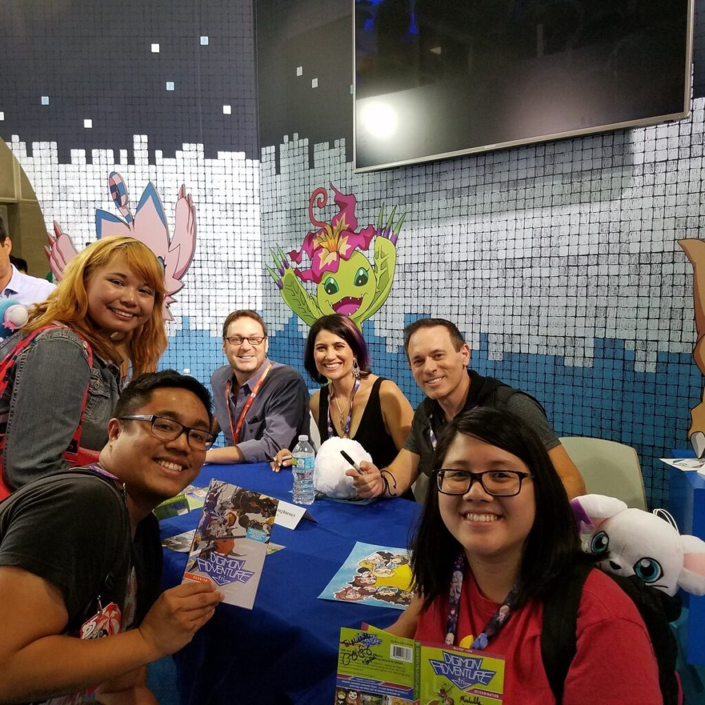 Jeff, Colleen O'Shaughnessey, and Joshua Seth with Fans at Anime Expo 2017 anime cons
