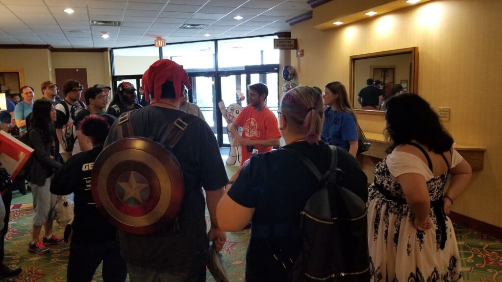 "Jeff talking to Cosplaying Extras at an anime con in ""Fame-ish"""