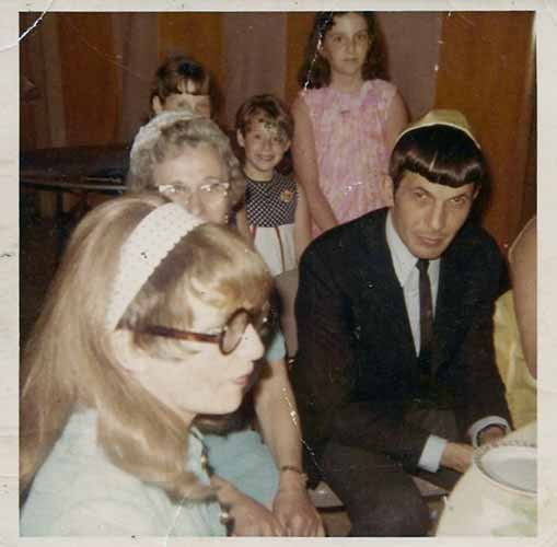 Leonard Nimoy with Jeff Nimoy's sisters at a Bar Mitzvah during his Star Trek days